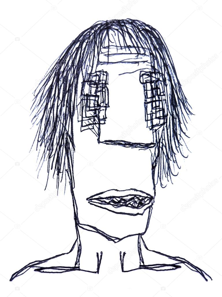 Monster man pencil drawing sketch stock photo