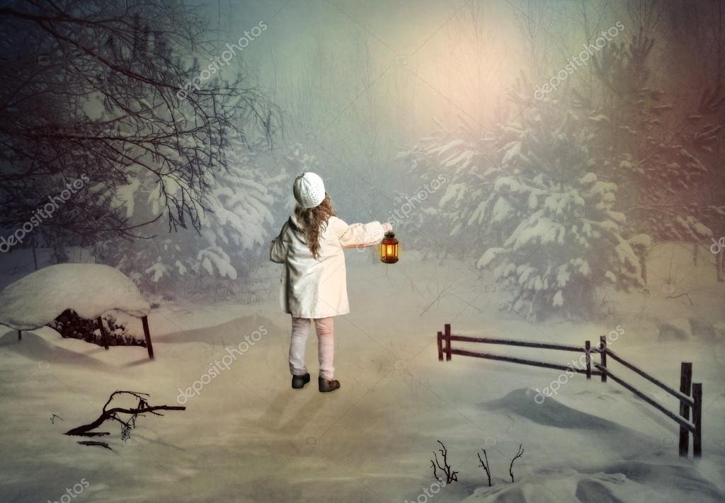 Little girl with the lantern