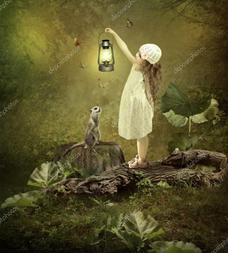 Little girl with magic lamp — Stock Photo © Margo1956 #87427688 for Little Girl With Lamp  186ref