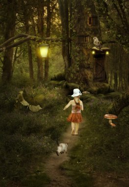 girl with cat walking on a footpath