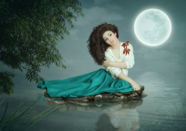 Young girl with long hair sitting on the stone on the river under a tree and dream in the moonlight stock vector