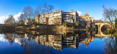 Portugal . Amarante town with reflection in river