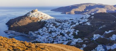 Astypalea island over sunset, top view of Chora , Greece