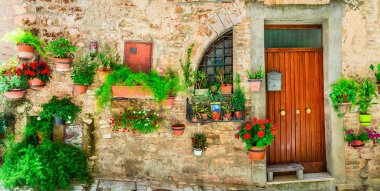 Most beautiful villages of Italy series - Spello in Umbria with flower decoration.