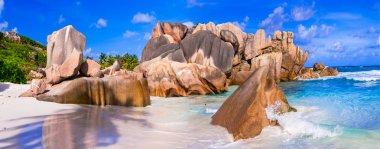 Beautiful Anse Cocos, La Digue,Seychelles. stock vector