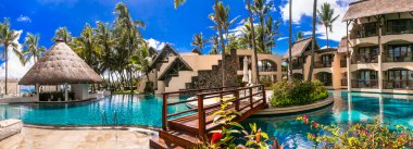Tropical vacation. Constance Belle Mare Plage - luxury 5 star resort in Mauritius island. Jan 2020