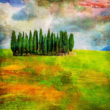 Landscapes of Tuscany , artwork in painting style stock vector