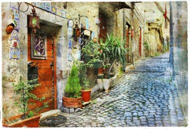 old charming miediterranean streets - artistic picture