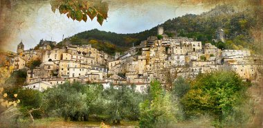 old italian villages - Pesche, artistic retro styled picture