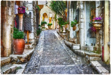 Charming old streets of Provence villages, France, artistic pctu