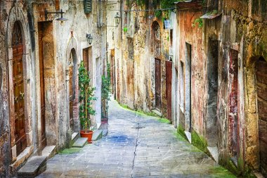 characteristic old streets of medieval towns of Italy