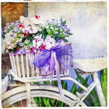 charming street decoration -vintage bike with flowers