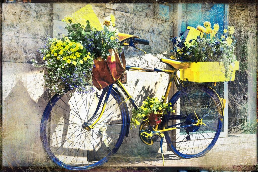 Vintage bike  with flowers