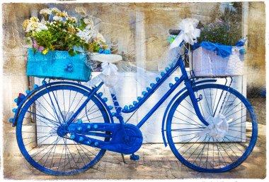 Floral bikes, artistic vintage picture