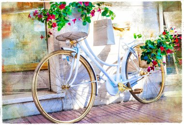 charming streets with floral bike