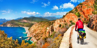 cycling in Corsica mountains. Healthy lifestyle. outdoor sport activities