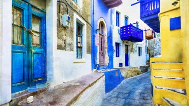 traditional island of Greece - Nisyros with colorful streets, artistic picture