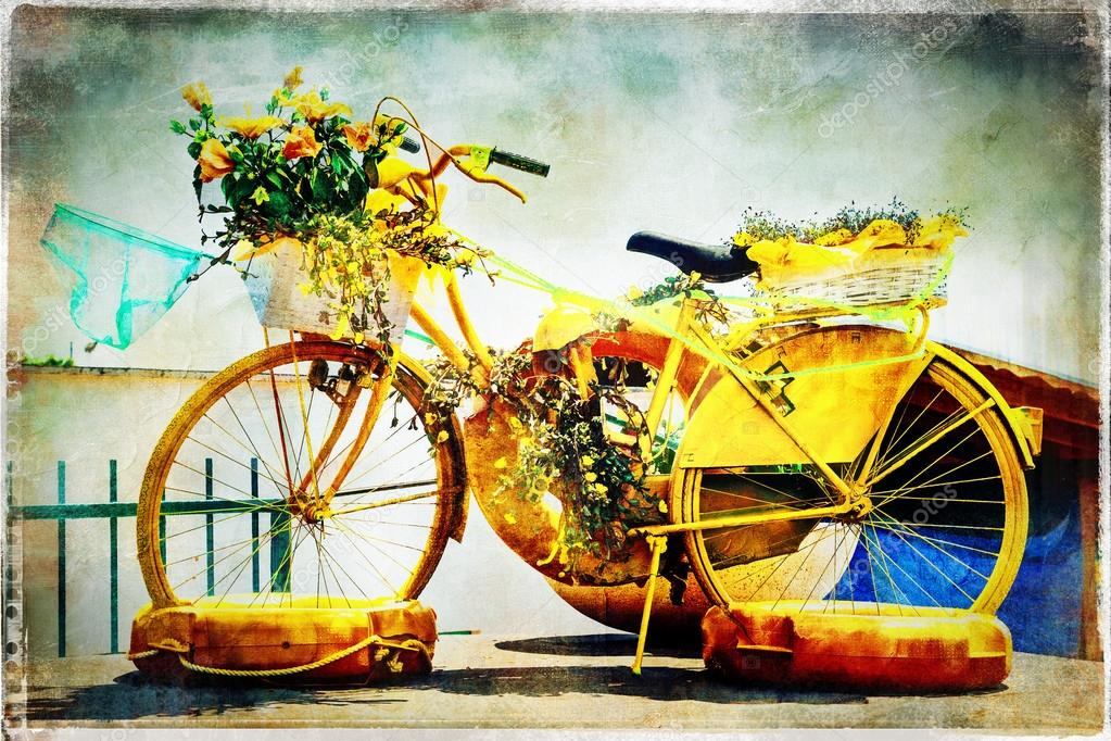 Retro postcards - floral bike, artwork in painting style — Stock ...