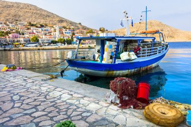 traditional Greek islands - Chalki with wishing boats