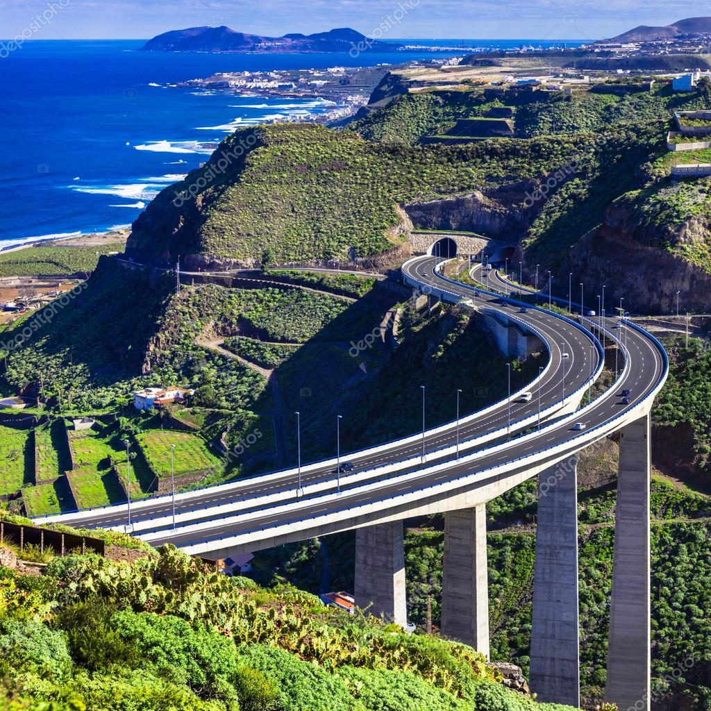 Gran canaria island view with impressive bridge in - Living in gran canaria ...