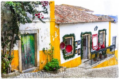 streets of old town Obidos in Portugal, artistic picture