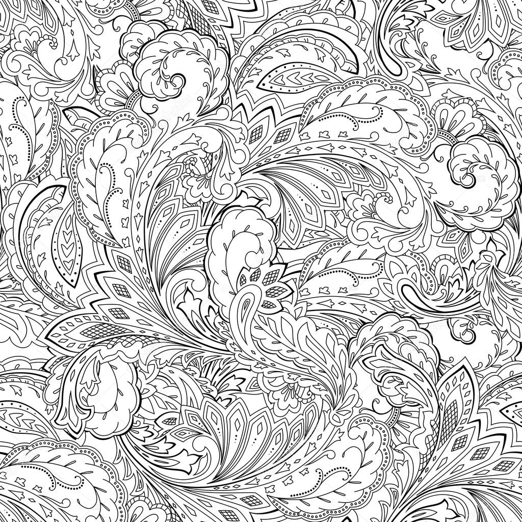 Seamless paisley pattern. Coloring page, ornamental background ...