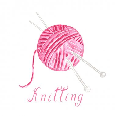 Watercolor ball of yarn with knitting needles
