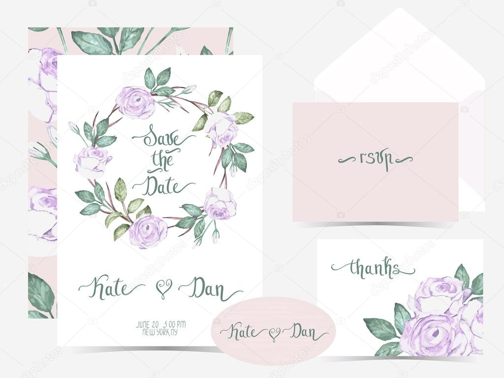 Vector collection of invitation cards with watercolor flowers .