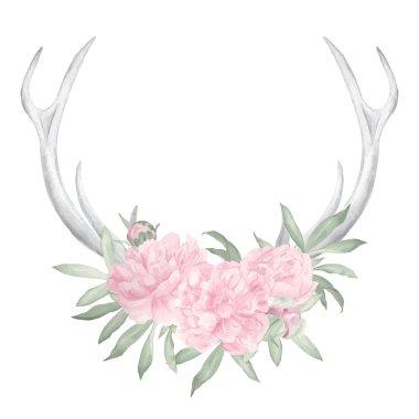 Watercolor deer antlers and flowers