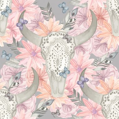Ethnic seamless pattern. Skull bull in flowers