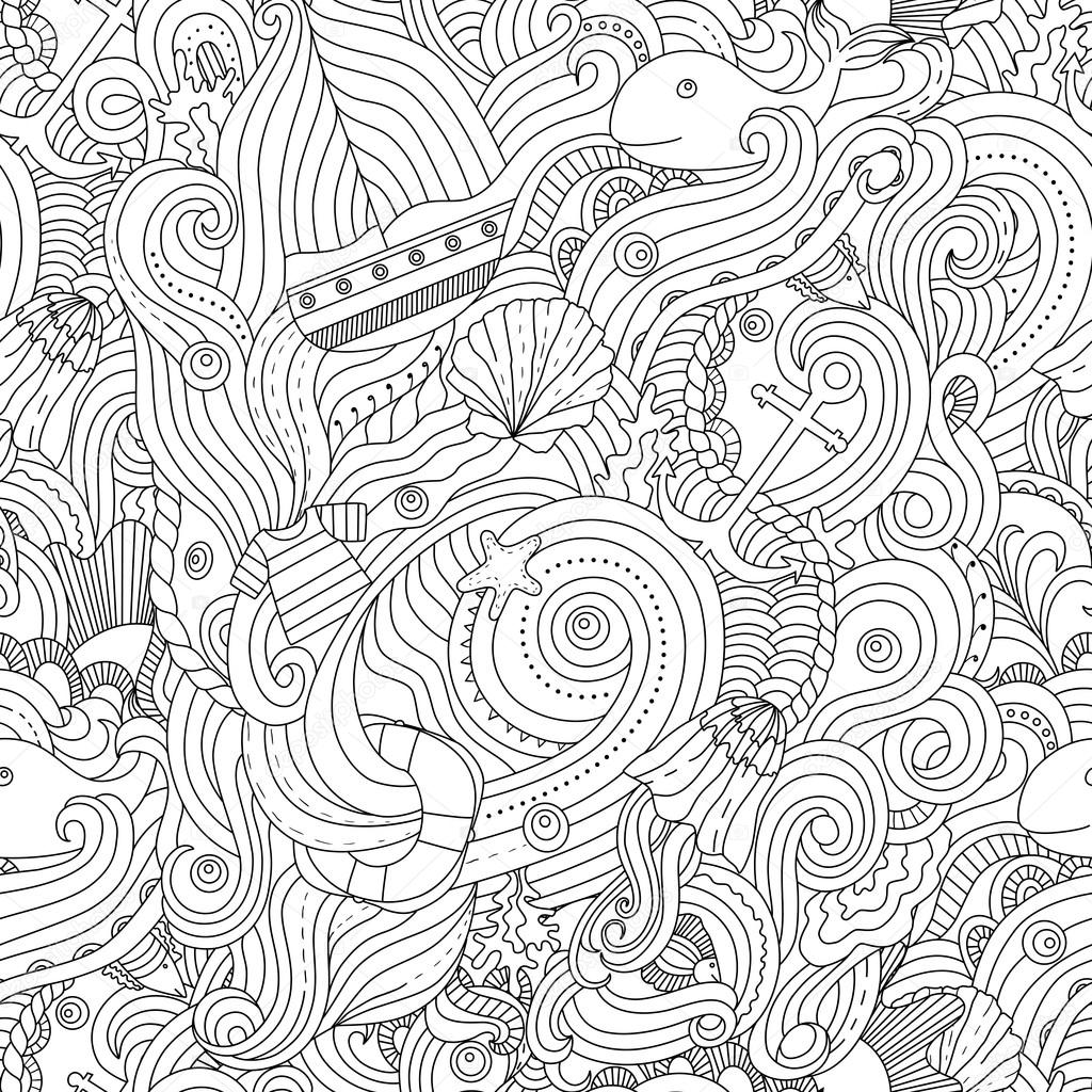 Nautical Coloring Pages For Adults : Nautical pattern adult coloring page — stock vector
