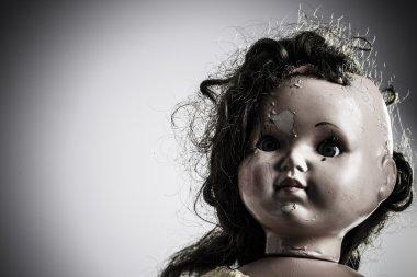 head of beatiful scary doll like from horror movie