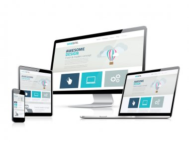 Awesome responsive web design development side vector displays