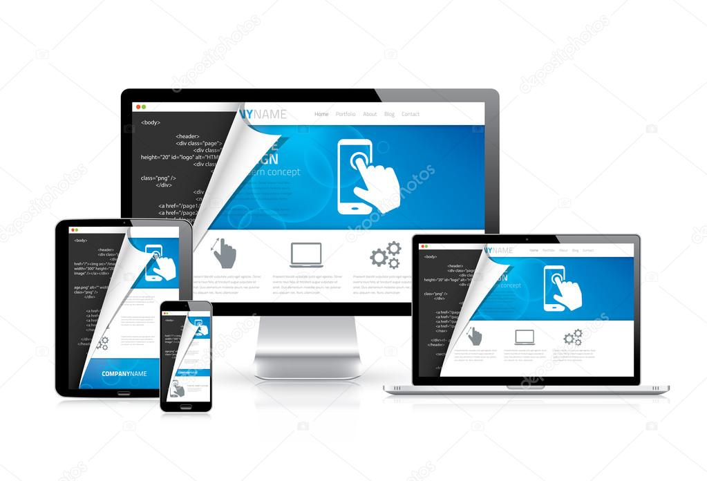 Responsive web design vector with html code script in background