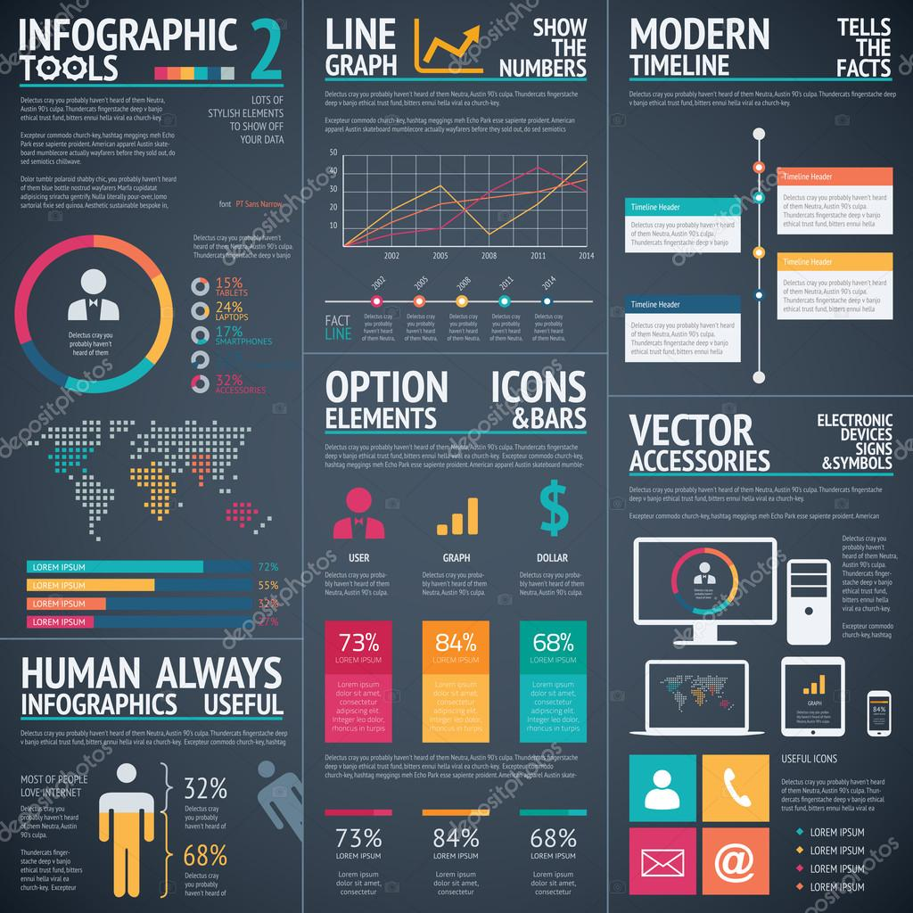 Black infographic vector template elements data visualization