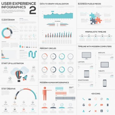 Data analytics vector infographics with clean trendy flat design