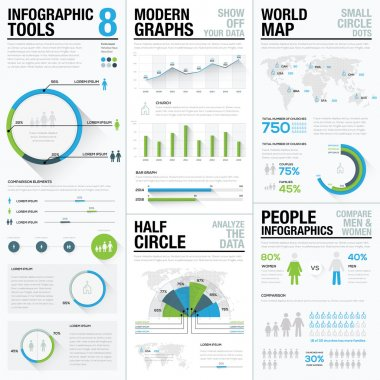 World map infographics & business visualization vector elements