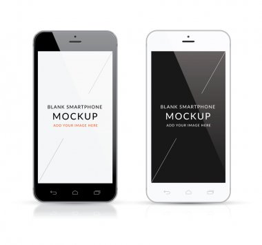 New black and white modern smartphone mockup vector illustration