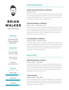 Creative and minimalistic personal vector resume cv template