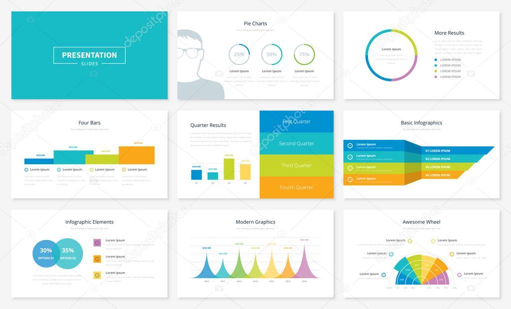 modelos de slides de apresentação infográfico e brochuras de vetor