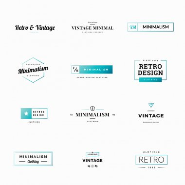 Twelve minimal retro and vintage vector logos for shops