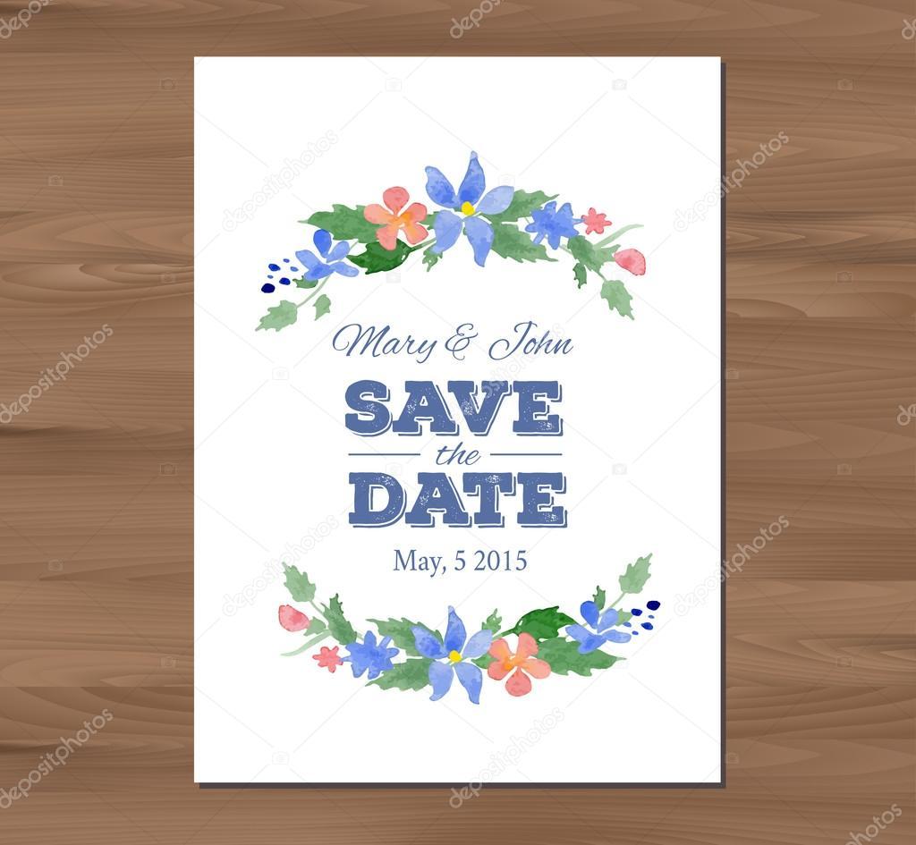 Invitación de la boda de vectores de flores acuarelas y typographi ...