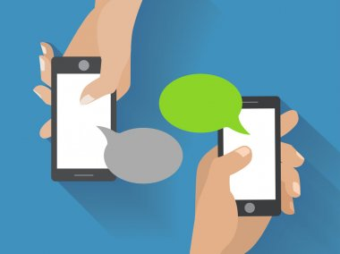 Hands holing smartphone with blank speech bubble for text. Using smart phone similar to iphon for text messaging. Eps 10 flat design concept. stock vector