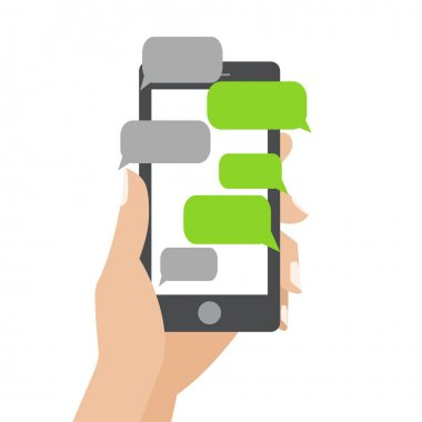 Hand holing black smartphone similar to iphon with blank speech bubbles for text. Text messaging flat design concept. Eps 10 vector illustration stock vector