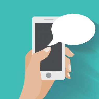 Hand holing smartphone with blank speech bubble for text. Using smart phone similar to iphon for text messaging. Eps 10 flat design concept stock vector