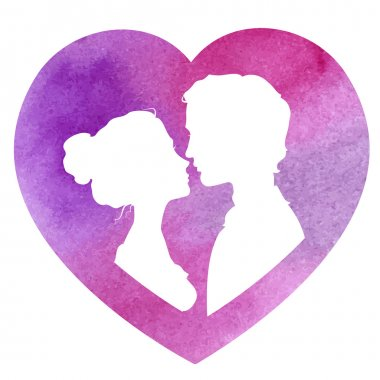 Profile silhouettes of man and woman in a heart-shaped frame. Loving couple going to kiss. Watercolor vector illustration stock vector