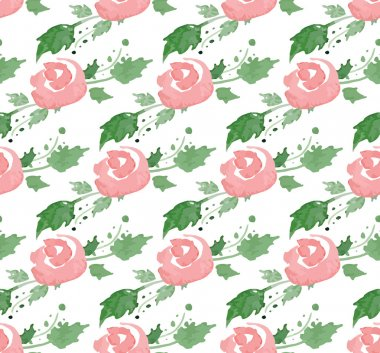 Vector illustration - Seamless pattern with watercolor flowers