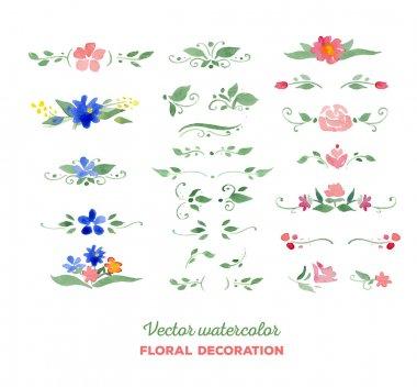 Vector watercolor floral elements. Flowers, leaves, bouquets