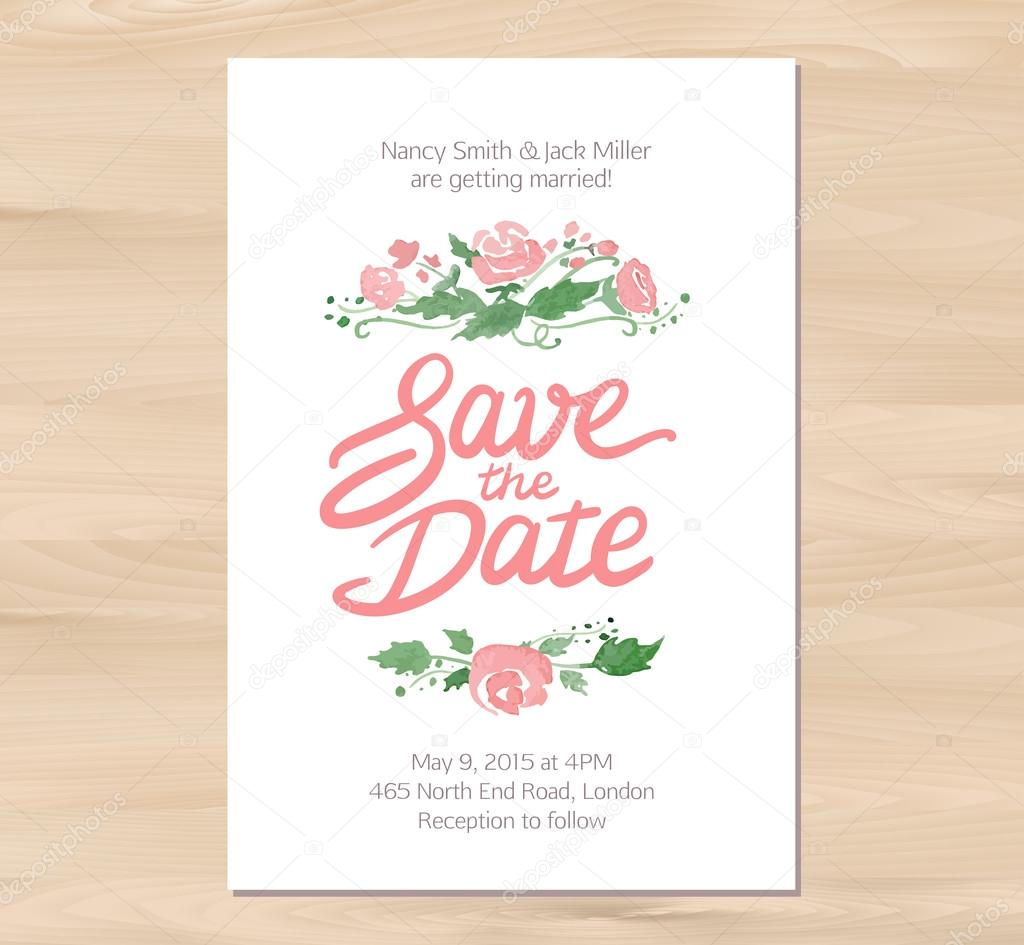 Convite de casamento de vetor com flores em aquarela e desenhados vector illustration save the date wedding invitation with watercolor flowers and hand drawn lettering card template on a wooden background stopboris Image collections