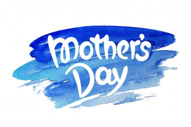 Mothers day hand-drawn lettering against watercolor background clip art vector